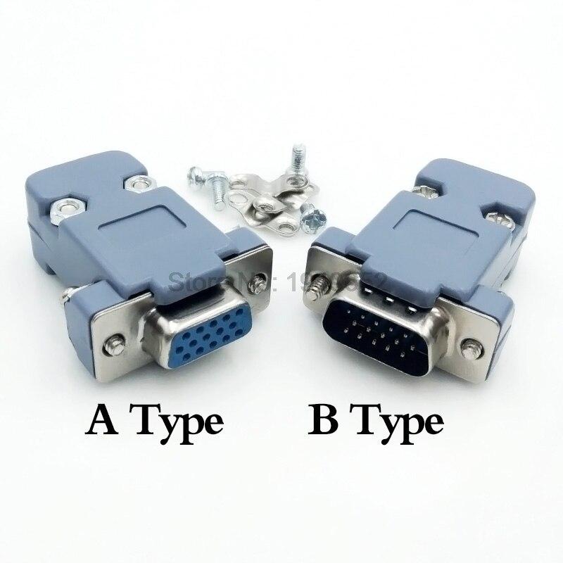 DB15 15 pin de agujero 3 filas adaptador de con puerto VGA paralelo macho hembra enchufe conector soldado de soldadura + cubierta de carcasa de plástico