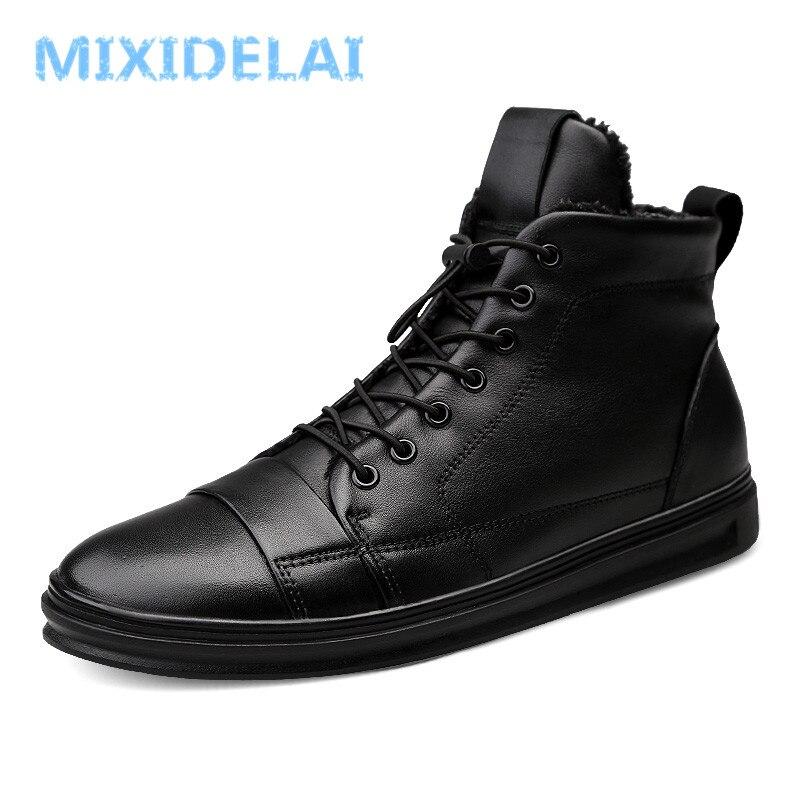 Masculinos de Alta Botas de Tornozelo Sapatos de Inverno Quentes com Pele Novo Tamanho Grande Sapatos Qualidade Couro Genuíno Moda Preto Homens Botas