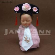Jane Z Ann Creative newborn baby Head wear Hairband Qing ancient Dynasty lattice modeling props retro children photo-taking hat
