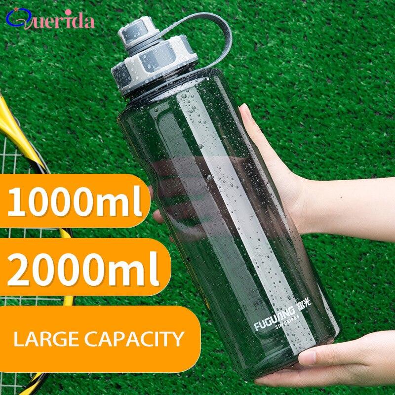 2000ml Large Capacity Water Bottles Portable Outdoor Plastic Sports Bottle With Tea Infuser Fitness Leak-proof Shaker Bottles