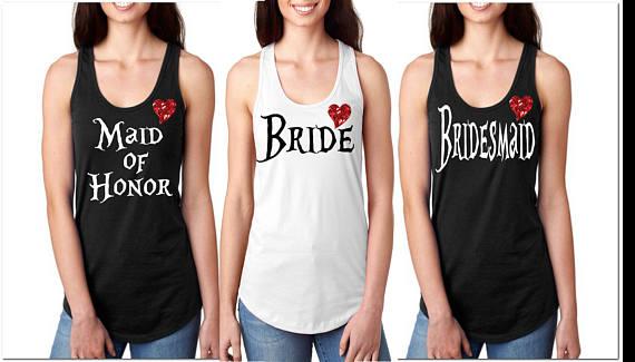 custom title Alice Wonderland wedding bride bridesmaind t shirts Bachelorette tanks tops bridal t-shirts party favors gifts