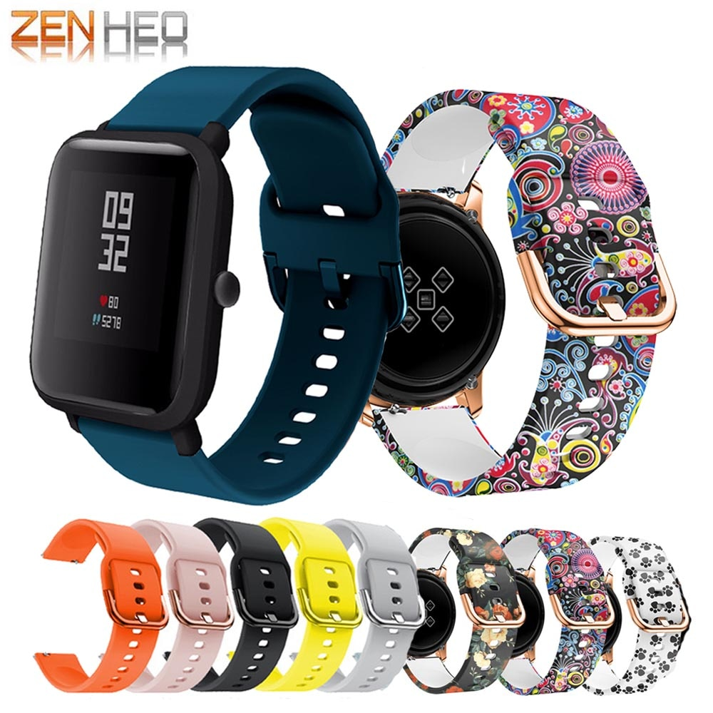 20mm Silicone Bracelet Strap for Xiaomi Huami Amazfit Bip Bit Lite Youth Smart Watch Band For Samsung Galaxy Active 2 44/40mm genuine leather loop magnetic band strap for huami amazfit bip bit pace lite youth smart watch closure buckle wristband bracelet