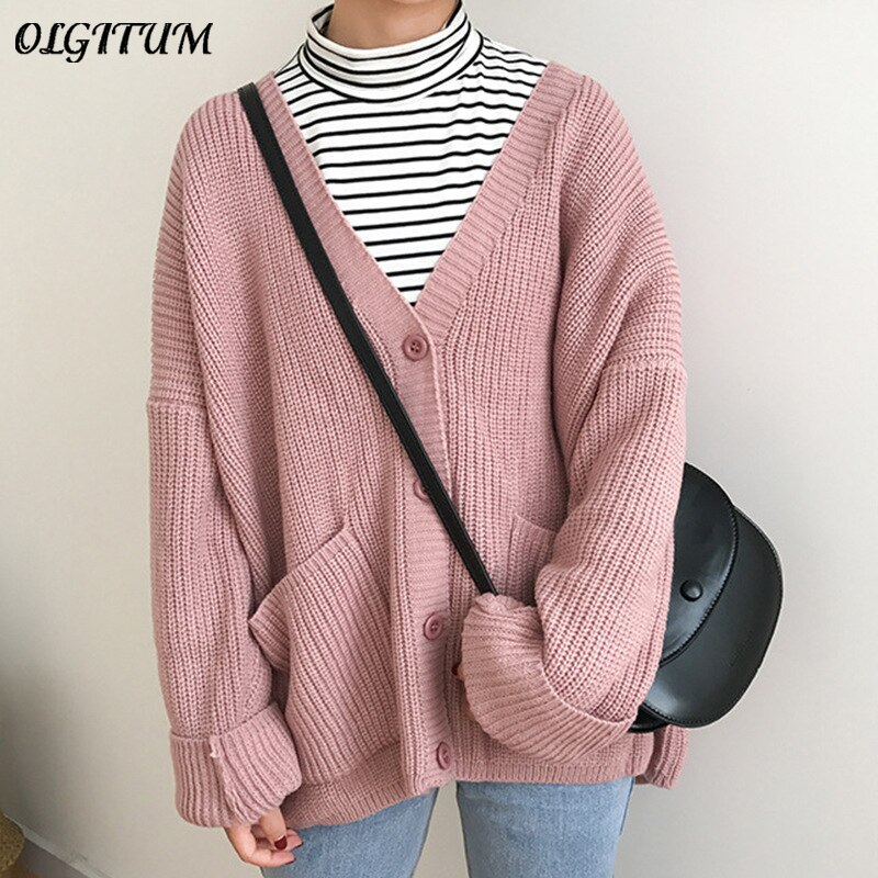 2020 корейский женский свитер кардиган с двойным карманом дизайн Женский вязаный кардиган вязаный свитер осень зима топы