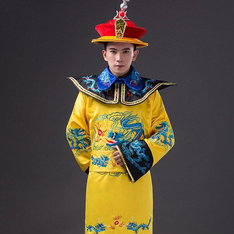 Traje de emperador chino amarillo, Dinastía Qing antigua China, dinastía Ming, ropa de Hanfu para hombres, bordado Dragon, fiesta Cosplay 17