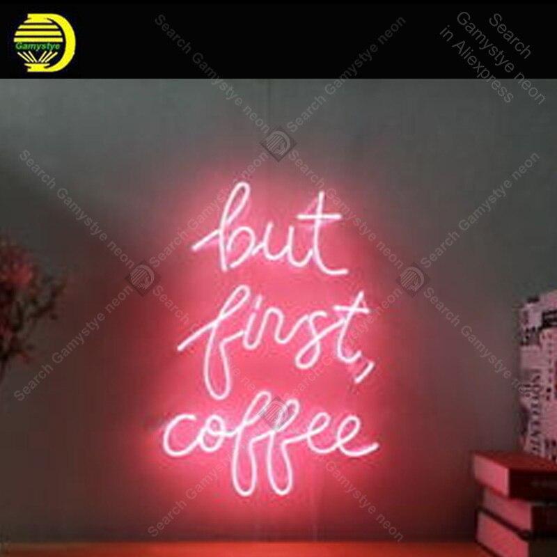 علامة نيون للقهوة ، أنبوب زجاجي حقيقي ، مصباح غرفة نوم ، لوحة إشارة مضيئة ، ديكور غرفة ، بيع