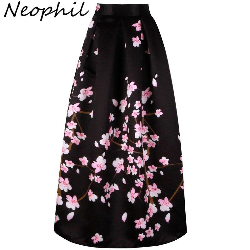 Neophil 2020 vintage sakura flor impressão de cintura alta senhoras maxi longo saias pretas plissado feminino longa saia falda larga ms1021