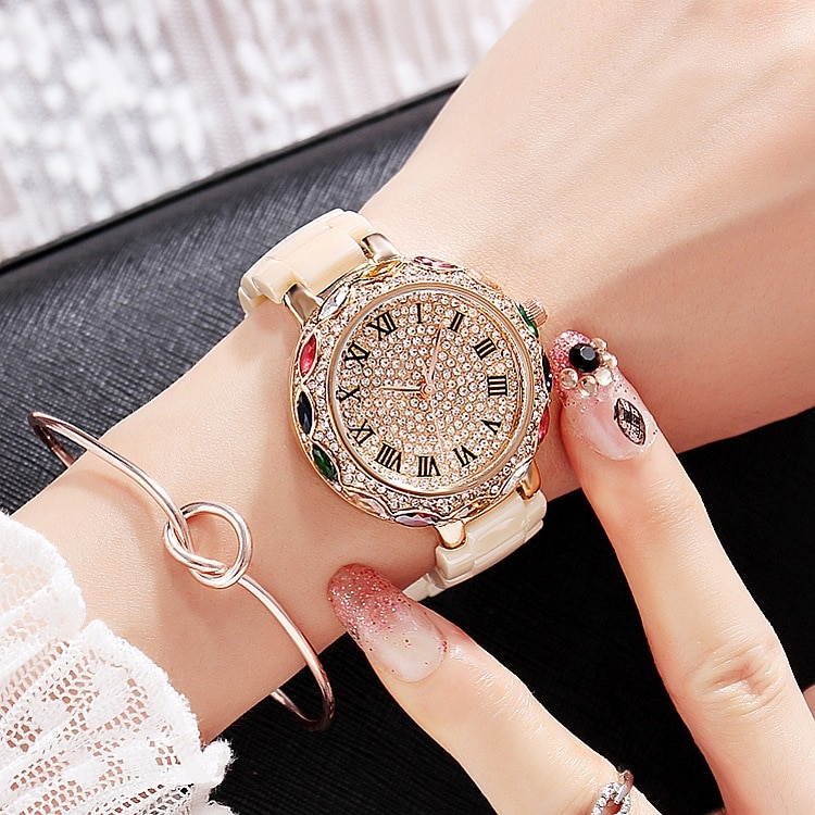 2019 Fashion Brand Ceramic Women Bracelets Watches Luxury Lady Colorful Rhinestone Wristwatch Full Diamond Crystal Dress Watch enlarge
