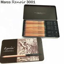 Crayons à dessin au Pastel Non toxique, jeu de crayons dart professionnel de Marco Renoir boîte à fer 3001-12 pièces/H/F/HB/B/2B/3B