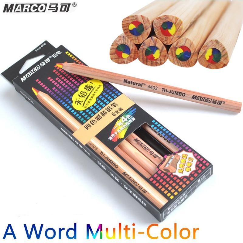 Marco 1 Word 4Colors Tip Color Pencil 5B Paper DIY Drawing School for Kids Gift Cute Coloured Pencils Lapis De Cor 6PCS/Box