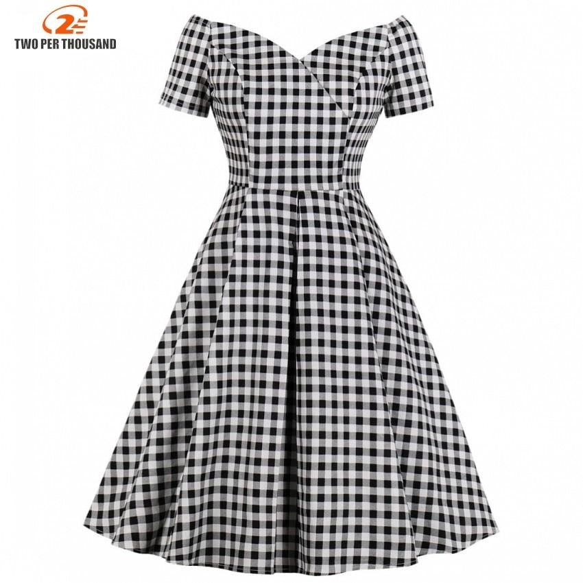 Summer Women Short Sleeves Midi Dresses 2019 Casual Vintage Elegant Office Lady Black Plaid Female Fashion Retro Pleated Dress