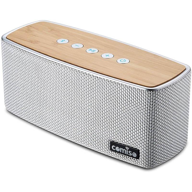 COMISO-Altavoces, inalámbricos por Bluetooth, altavoz estéreo con sonido de Supergraves 100Ft V4.2 para exteriores, de madera, 30W