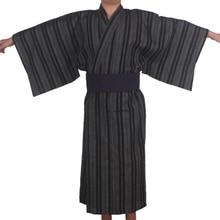3 unid/set Kimono ropa de dormir Japón Kimono Albornoz hombres apósito de algodón bata hombre Lounge batas con Obi pijamas de verano set A52802