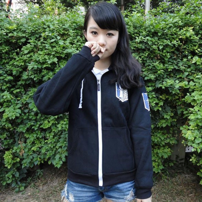Black Anime Attack on Titan Cosplay Hoodie Scouting Legion Hooded Jacket