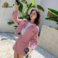 Koreanische Süße Frauen Zwei Stück Set Damen Cord Rosa Jacke Mantel + Rock Casual Frauen Set Herbst Mini Rock + outwear 2Pcs Anzug