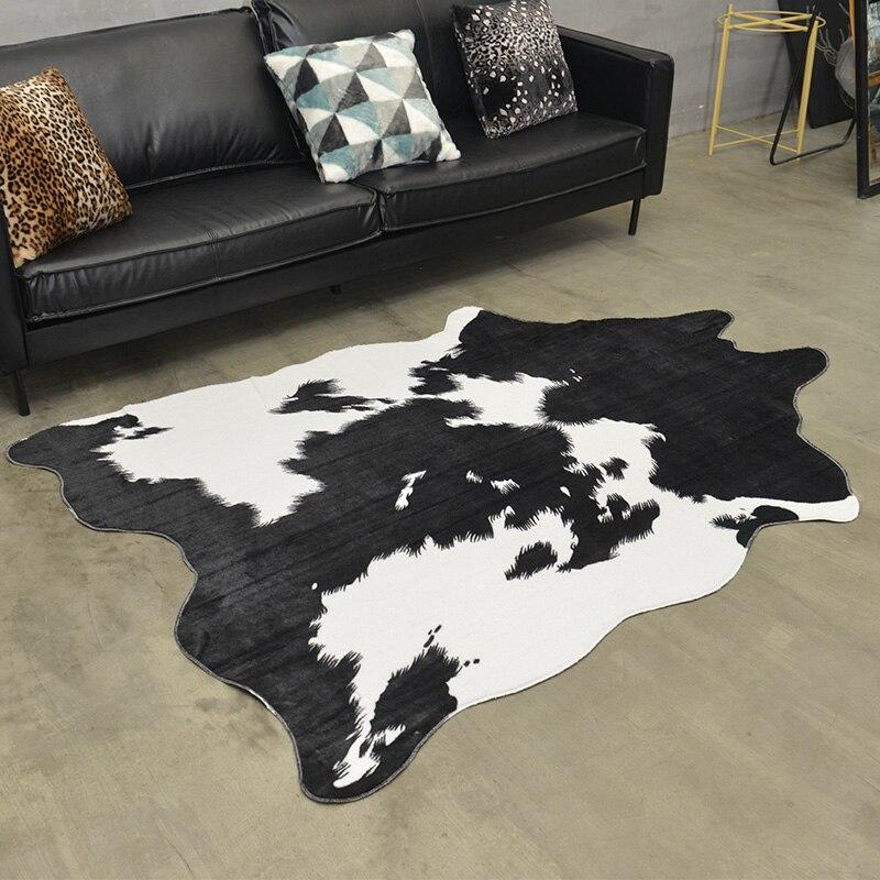 Tamanho grande em forma de uncut couro falso pele tapete 140*200 cm, estilo americano decorativo artificial pele tapete de assoalho