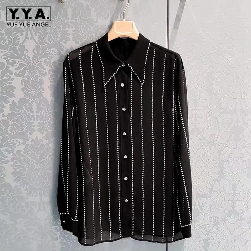 قمصان شيفون مطرزة لامعة للنساء ، أكمام طويلة ، بلوزة شفافة مثيرة ، مقاس فضفاض ، بلوزات Harajuku ، قميص الربيع والصيف