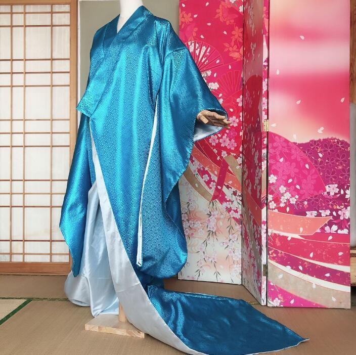 Japonés de Kimono prenda exterior traje de cola de hermosa mujer vestido japonés rendimiento azul Kimono amarillo