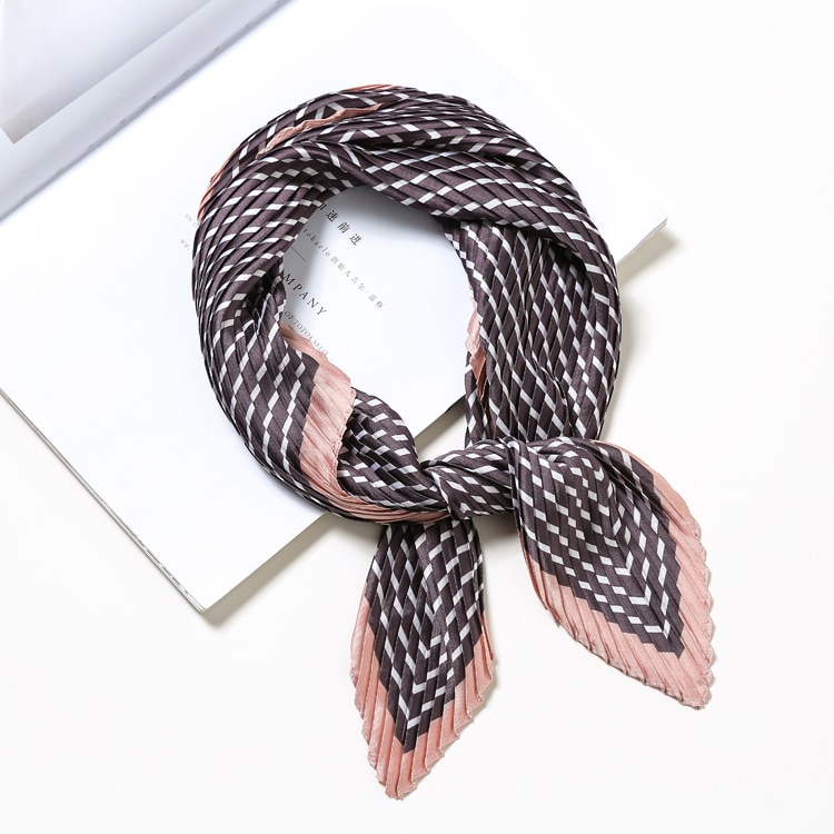 Multi streifen modische frauen druck halstuch krawatte plissee platz schal tasche tie 2018 neue Foulard Bandana LL180243