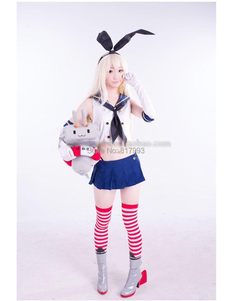 Kantai Collection Dress anime Shimakaze Cosplay Costume women grils Clothing top+skirt+gloves+headdress+T-back Uniform