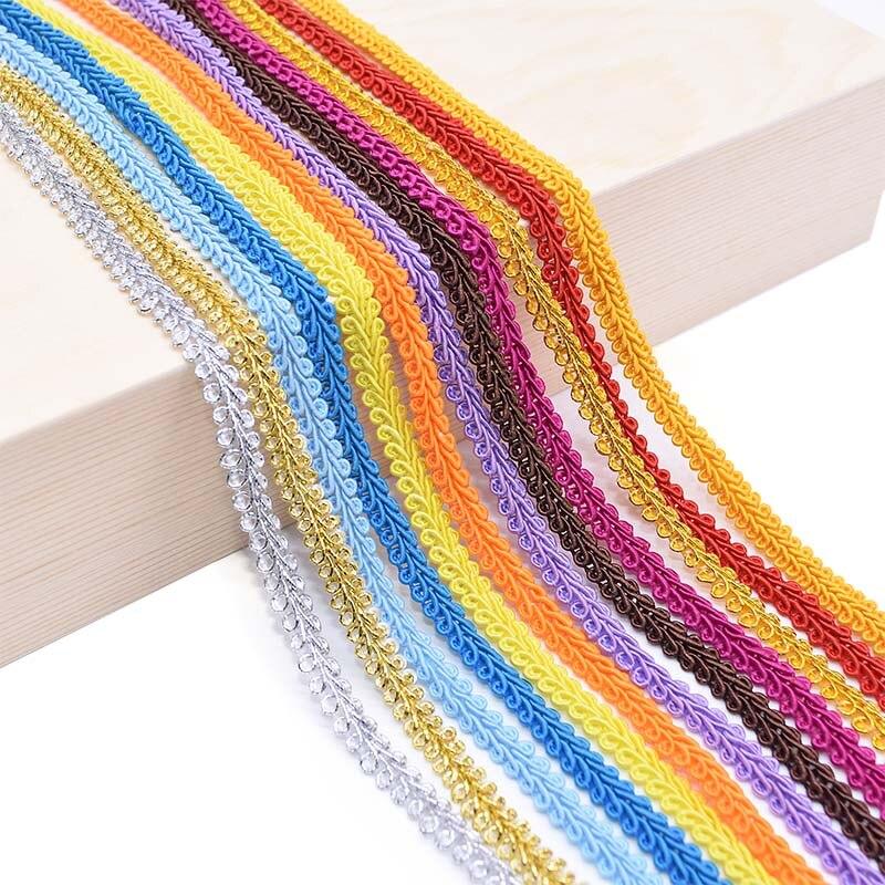 5 メートル/ロット 8 ミリメートルレーストリムリボンゴールドシルバームカデ編組レースホームパーティーの装飾diyの服工芸品ファブリック曲線用品
