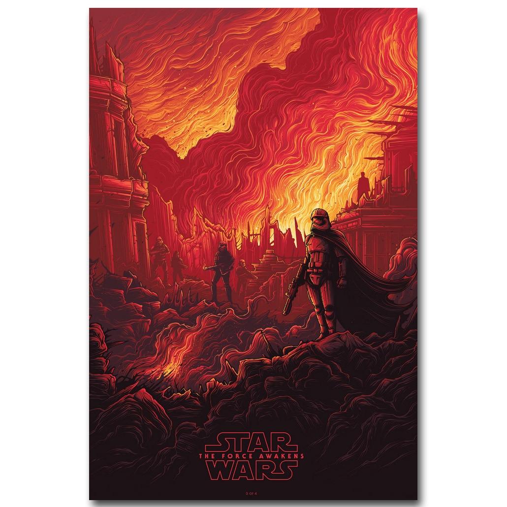 Póster de tela de seda de Star Wars 7 The Force Awakens de 13x20, película de 24x36 pulgadas, imagen Kylo Ren para decoración de pared de habitación 012