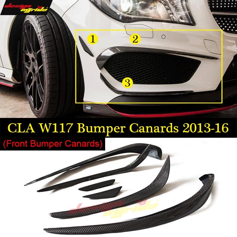 6pcs Car Carbon Fiber Front Bumper Splitter Spoilers Canard for Mercedes W117 C117 CLA Class CLA200 CLA250 CLA45 for AMG 13-16