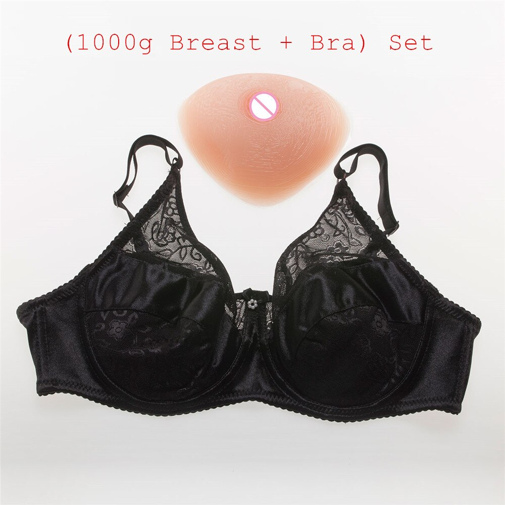 1000 g/par copa D travestido Tetas de silicona + Sexy bolsillo conjunto sujetador transexuales transexual Drag Queens sujetador pecho falso conjunto