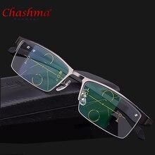 2017 titan Legierung Qualität Multifokale linsen Lesebrille Männer Mode Halb Rand Progressive Brille Platz dioptrien gläser