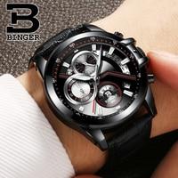 Brand Fashion Men Designer Sports Watches Import Quartz Mutli Function Chronograph Wrist watch Real Leather Strap Watch Calendar