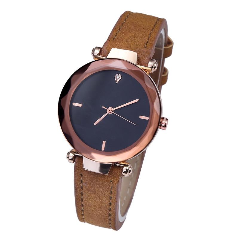 Luxury Brand Leather Crystal Quartz Watch Women Ladies Fashion Bracelet Wrist Watch Wristwatches Clo