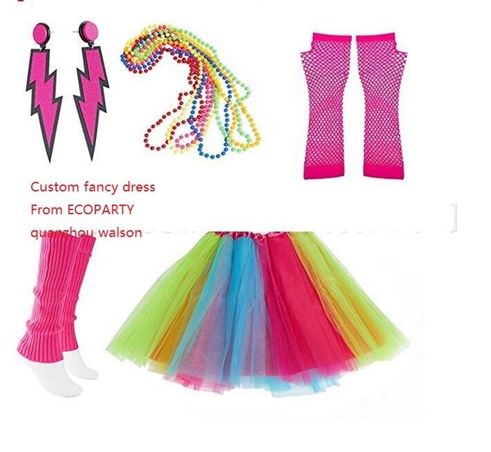 Caliente rosa de neón TUTU falda guantes calentadores de piernas 1980S de las señoras 80S vestido traje de fiesta de disfraces conjunto