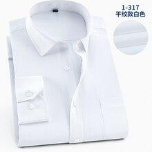 5XL 6XL 7XL 8XL 9XL más el tamaño de los hombres vestido camisas de manga larga Casual paño liso Color sólido Slim Fit camisa camisa de algodón de bolsillo para hombre