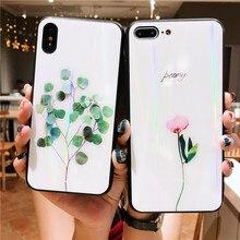 Funda de vidrio templado con hojas verdes láser para Huawei Y9 Prime 2019, funda para Huawei P30 Lite Mate 10 30 Pro Honor 10 lite 8X 10i