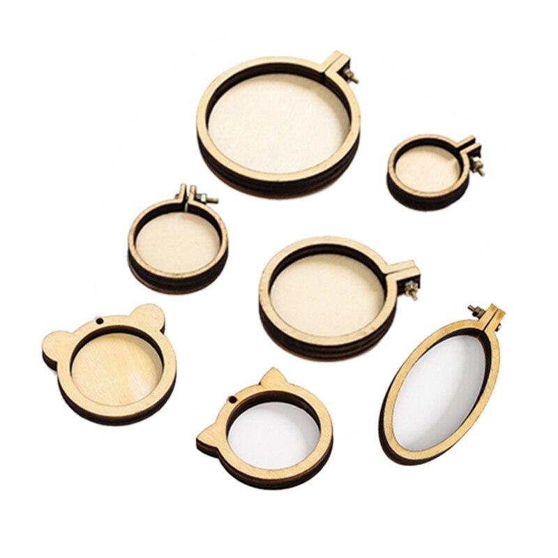 7 шт./компл. мини кольцо вышивка круг круглые деревянные обручи DIY Набор Колец крестиком рамка Ремесло ожерелье ювелирные изделия кулон
