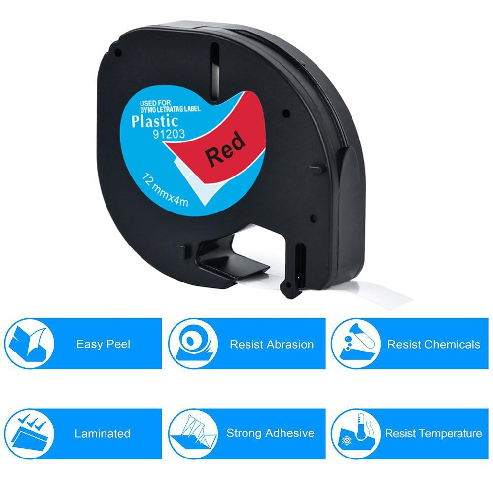 CIDY 100pcs LT91203 LT 91203 91333 91223 59424 Black on red Compatible DYMO LetraTag Plastic Tape for DYMO LT 12mm 91201 LT-100H