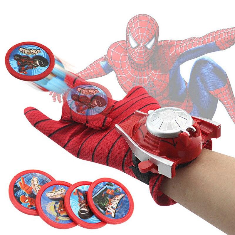 1Pcs Kids Toys Launch Gloves Spiderman Gloves Wrist Transmitter Batman Iron Man Hulk Captain America Emission Gloves