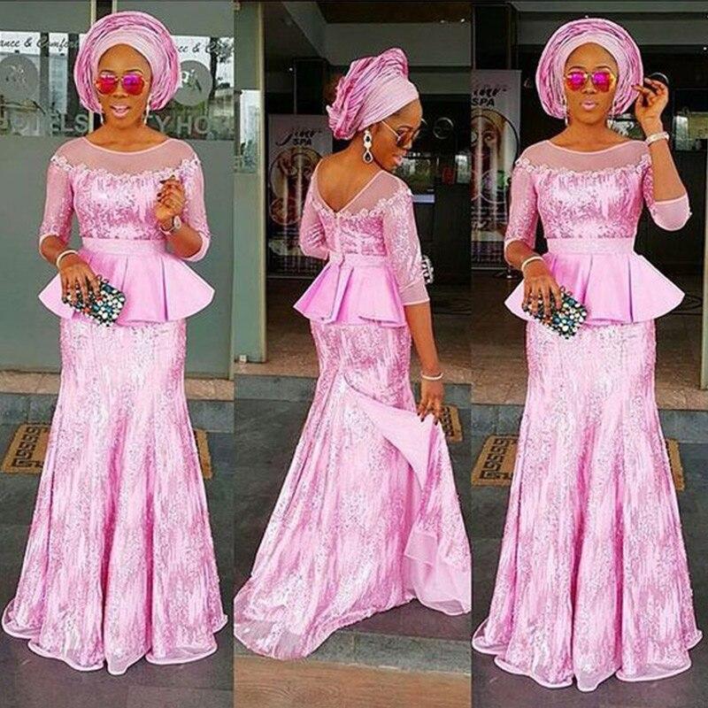 2018 Custom Made Lace Tops + Saias Definir Ternos Das Senhoras Mulheres Two Pieces Lace Africano Africano Roupas Plus Size vestido de Festa traje WY1149