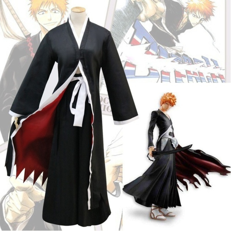 Bleach Kurosaki Ichigo Robe Cloak Pants Belt Coat Japanese Anime Cosplay Halloween Costume Clothing Cloak Bankai Kimono Uniform