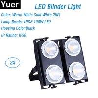 2x professional par lights 4x100w led blinder lights 4pcs 100w cob led wash lights high brightness dmx stage lighting projector