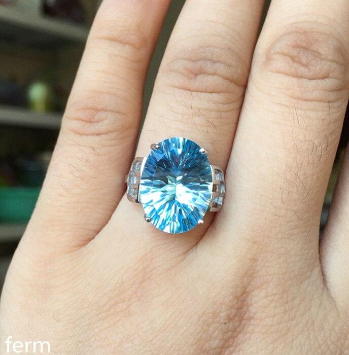 Kjjeaxcmy jóias finas 925 prata pura incrustada com natural azul topázio anel com pequenas e incomuns flores homem