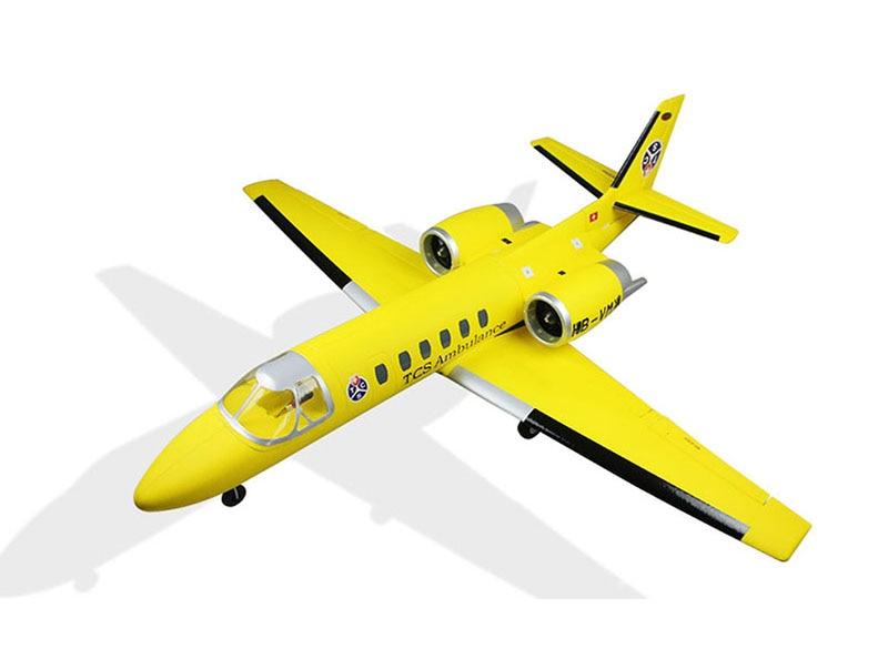 Dynam Yellow 1180MM Cessna 550 Turbo Jet RC PNP Propeller Plane W/ Motor Servos TH03704