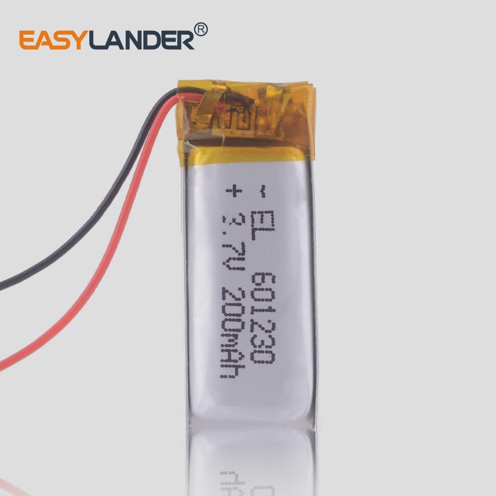Polymer battery 200 mah 3.7V 601230 smart home MP3 speakers Li-ion battery for dvr GPS mp4 bluetooth headset zealot H7