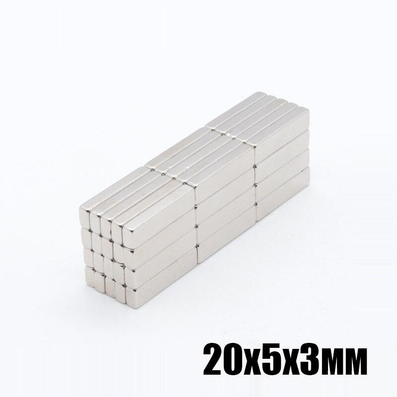 100 قطعة 20x5x3 ملليمتر قوي جدا النيوديميوم مغناطيس للقفل 20x5x3 ملليمتر N35 الصف مغناطيس قوي المغناطيس الدائم 20x5x3 ملليمتر