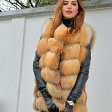 Vrouwen Nieuwe Rode Vos Bont Vest Natural Fox Bont Echt Vossenbont Korte Vest Casual Mode Warme Herfst En winter Europese Street Style