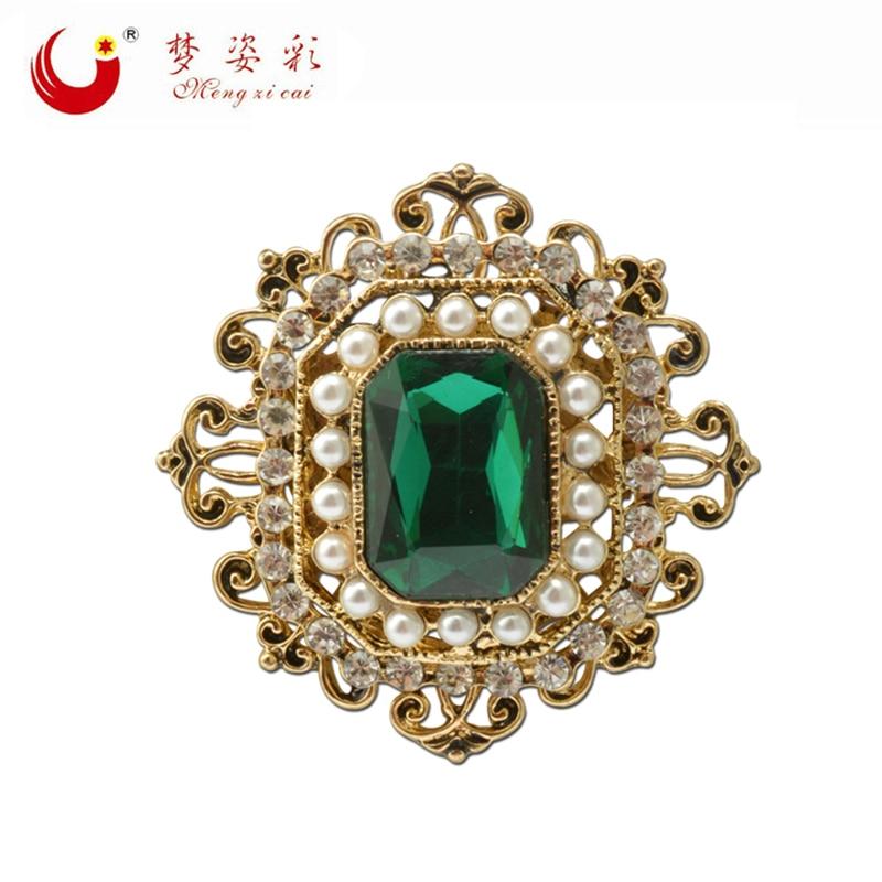 Vintage Bohemian Green Crystal Round Brooch Pin Female Retro Badge for Women Lapel Pin Rhinestone Broach X1728
