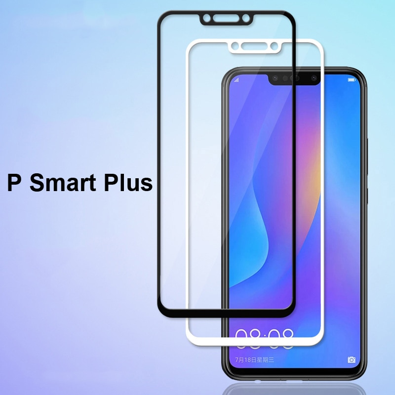 Protector de pantalla completa de color blanco negro ultrafino película de vidrio templado para Huawei P Smart Plus película protectora de pantalla de vidrio