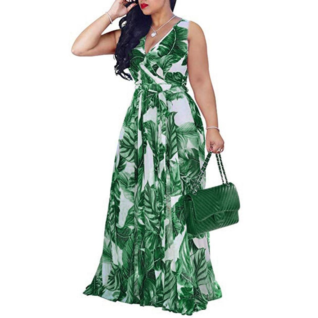 Boêmio floral impressão vestido longo para mulher plus size sexy com decote em v cintura alta bandagem laço maxi vestido de festa praia