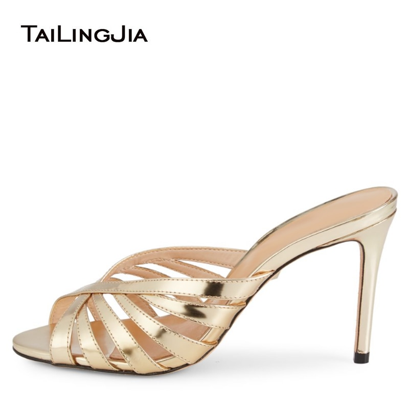Gold Heeled Mules Woman Heels Silver High Heel Sandals Women 2020 Ladies Elegant Bridal Wedding Peep Toe Summer Shoes Footwear