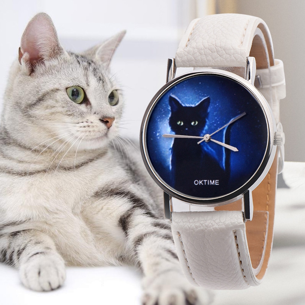 Lady Woman Wrist Watches Cat Pattern Ladies Watches Montre Femme Checkers Quartz Watch Women Clock Reloj Mujer Elegant N50