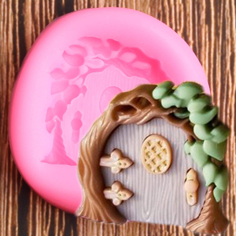 Molde de silicona para puerta de jardín de hadas, molde de arcilla polimérica para Fondant, herramientas de decoración para tartas de fiesta, molde para hornear magdalenas, molde para golosina de chocolate